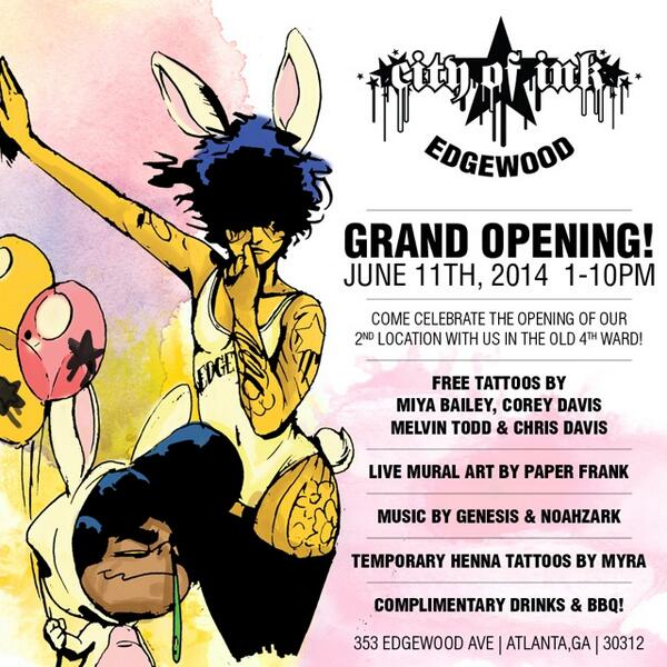 JUNE 11th Grand Opening [City of Ink Edgewood] 1pm-10pm spread the word!!! RT http://t.co/4GWSjxCgNb