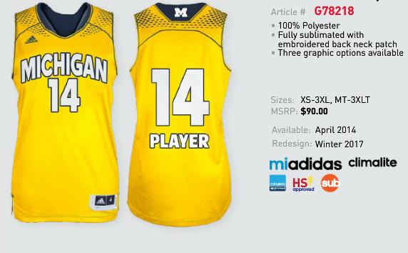 Michigan basketball uniform design