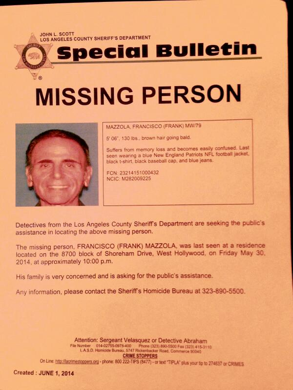 Retweet to help: Missing Person in West Hollywood- Please check flyer: last seen wearing blue @Patriots jacket http://t.co/okb3GgJbVM