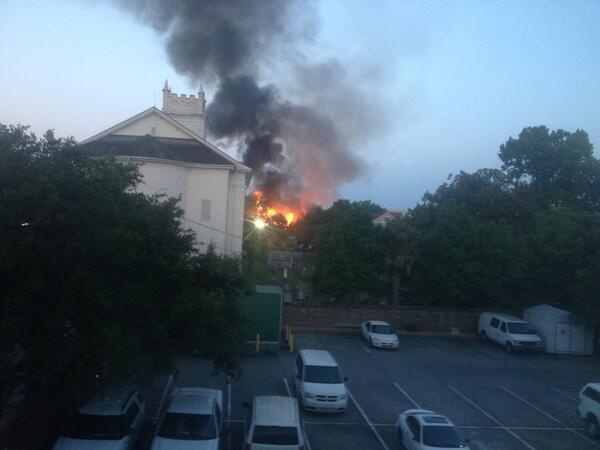 .@Charleston_Fire says Warren Street fire under control. Story: http://t.co/A2HwmInlDo. Photo via @DonSondles http://t.co/RCS3DrnKg9