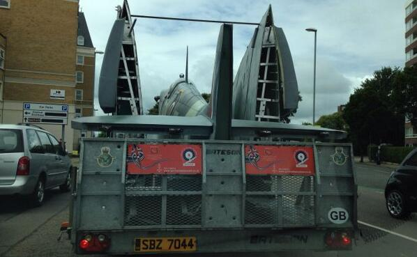 I appear to be parked behind a Spitfire. How extraordinarily cool is that? #dday70 http://t.co/nbxpPSzRXC