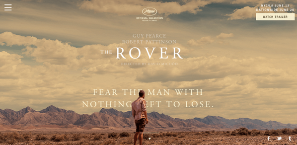 Excited for the release of @TheRoverMovie site we created in partnership with @A24Films: http://t.co/2433R1eFjN http://t.co/OrVeCJFIwl