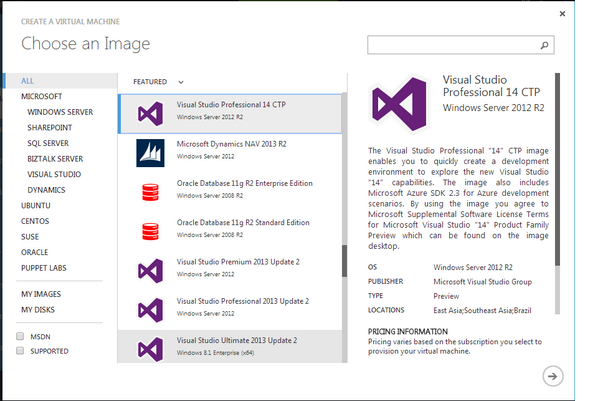 Looks like I don't need to create a VM for Visual Studio 14 CTP. There's already one in the Azure gallery. http://t.co/8DviWkez0U
