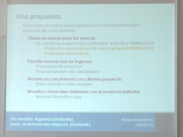 @albertepatino: principios sólidos sobre bases móviles-innovación+diseño+experiencia de cliente #periodismoemprende http://t.co/ILAMsmQ2oS