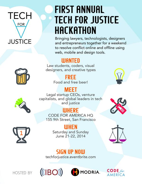 @gdisf come join us to #hackthelaw June 21 & 22 at @codeforamerica! We'd love to have you there. http://t.co/v3Qd7caktH