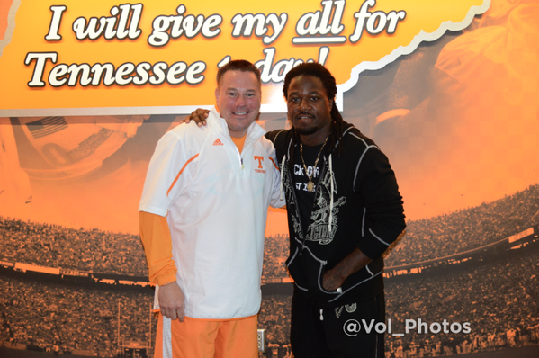 - @UTCoachJones and @REALPACMAN24 after he spoke at todays @Vol_Football team meeting http://t.co/rnG0fISSBz