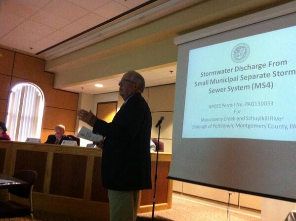 #Pottstown Borough Authority Engineer Tom Weld speaking on storm water issues. http://t.co/80FkjSVP1y