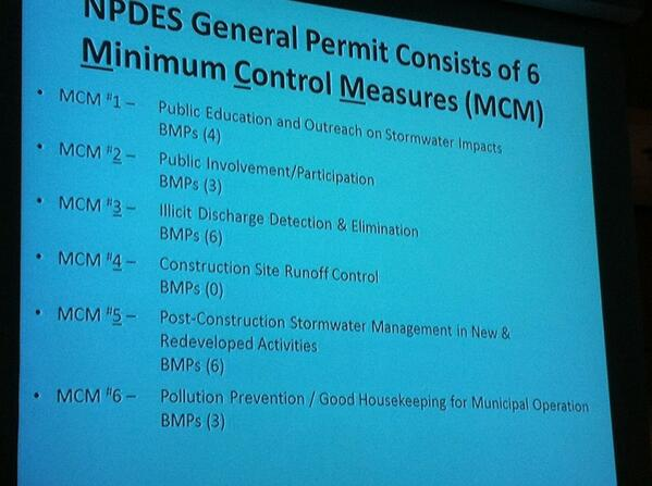 "Storm water permit from DEP has 6 major components or ""Minimum Control Measures."" http://t.co/CWEEZ6FZYB"