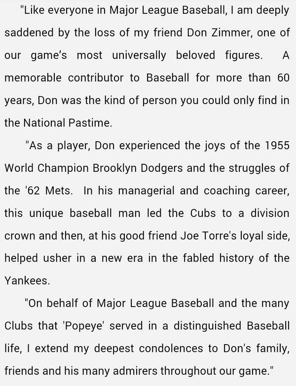 Statement from Commissioner Selig on the passing of Don Zimmer. http://t.co/YoPg0amXJG