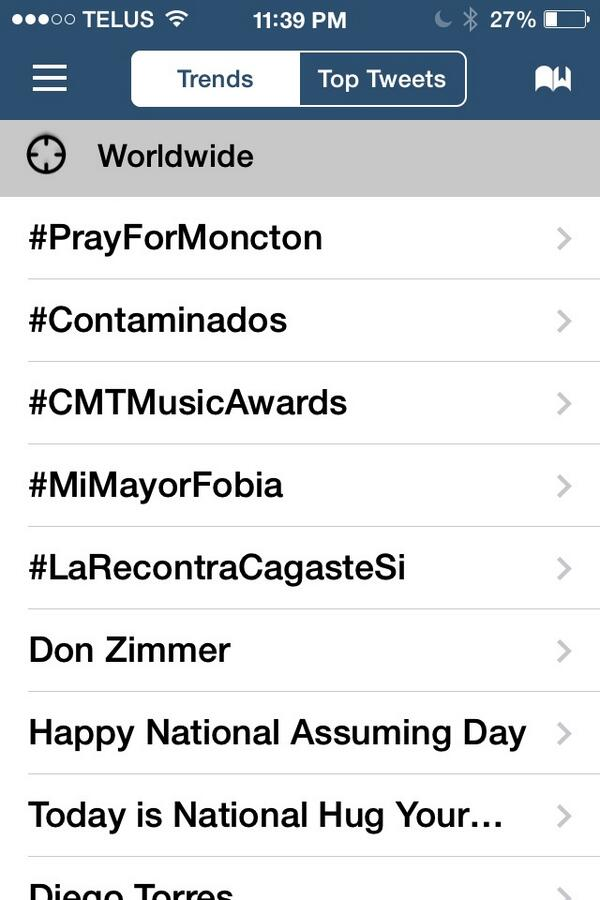 Never thought something so horrible would force my city to trend world wide #prayformoncton #monctonshooting  :( http://t.co/X3AbSjk3ef
