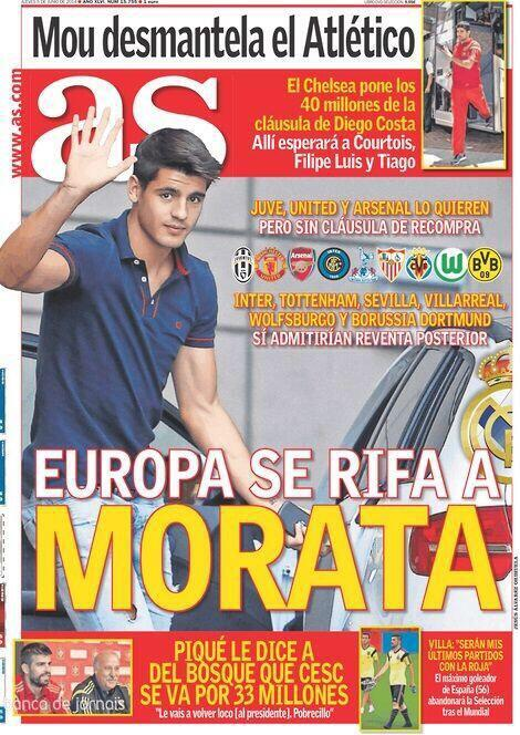Reals Alvaro Morata is being chased by Man United, Arsenal & Spurs, but striker wants Italian move [AS]