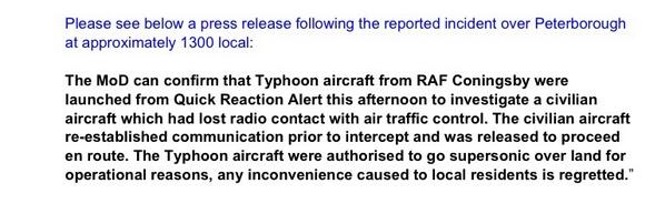Statement from RAF Coningsby regarding #sonicboom http://t.co/BGaJEKz6uS