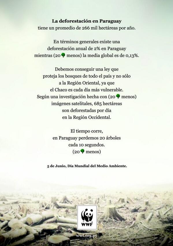 Hoy se celebra el Dia del Medio Ambiente y perdemos 20 Árboles cada 10 Segundos. ¿Es motivo de celebración? http://t.co/Tu6zDUKyp4