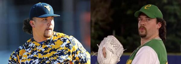 """Alma Mater #WVU """"@BenBadler: Yankees draft Sean Carley, whose scouting report compares him to Kenny Powers. Spot on http://t.co/7DzvgQEuNE"""""""