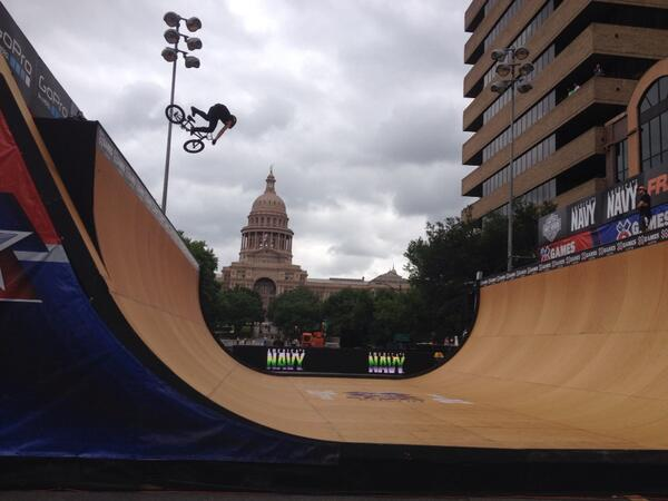 Y'all, these @xgames downtown are insane. BMX practice happening, getting set for tonight's competition. http://t.co/LCBCf0jGkj