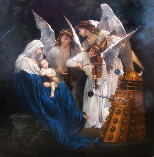 Don't think this tweeted before -  bonkers and beautiful Dalek painting at the Summerhouse gallery in Marazion. http://t.co/Dl4uV6UwSr