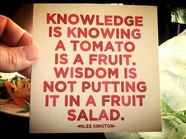 The Difference Between Knowledge & Wisdom http://t.co/mKMfGP5tjY
