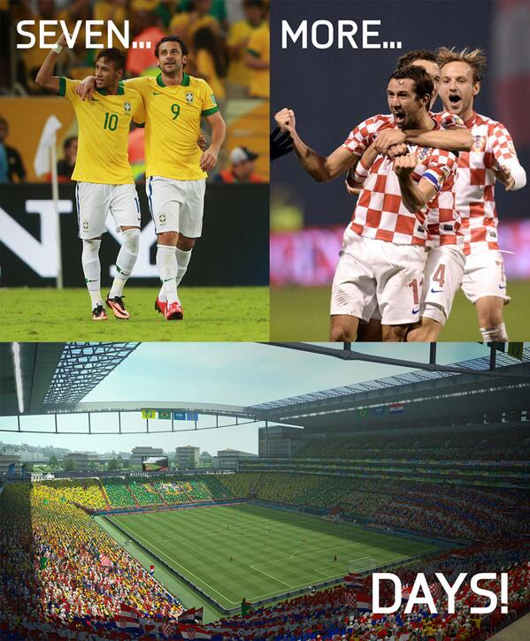 This time next week... KICK-OFF! #WorldCup #Brazil #Croatia http://t.co/zLoguOP8O6