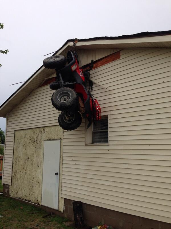 Wtf Monster Tornadoes Throw Atv In To Side Of Garage More
