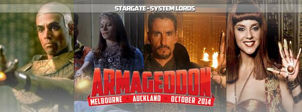 All hail the System Lords! Ba'al @cliffmsimon, Nirrti @JSamuda , Apophis @actualApophis and Hathor @SuanneBraun http://t.co/fqnHMo0NWU