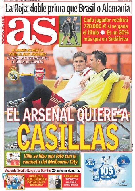Arsenal move to sign Real Madrid goalkeeper Iker Casillas [AS front page]
