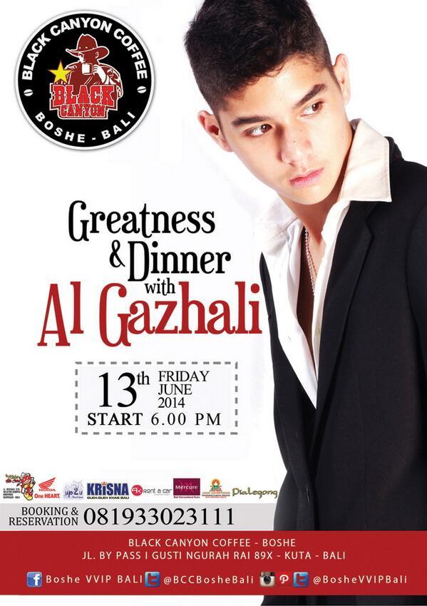 Yukk Ngobrol & Dinner bareng AL GHAZALI, selain itu AL juga bakal Perform Live Acoustic & DJ @BCCBosheBali malam ini http://t.co/5sjRIhbPIU