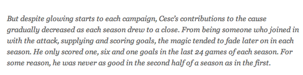 The magic tended to fade   Barcelona remove classless message about Cesc Fabregas from their website