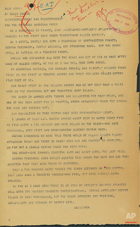 Wow. Historic @AP wire copy from June 6, 1944 on the D-Day invasion. First draft of history. http://t.co/HWLDb77y1X  http://t.co/3qPciLyTyV