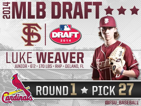 Congrats to Luke Weaver, the 27th overall pick to the @Cardinals! http://t.co/rS9FwaJswI