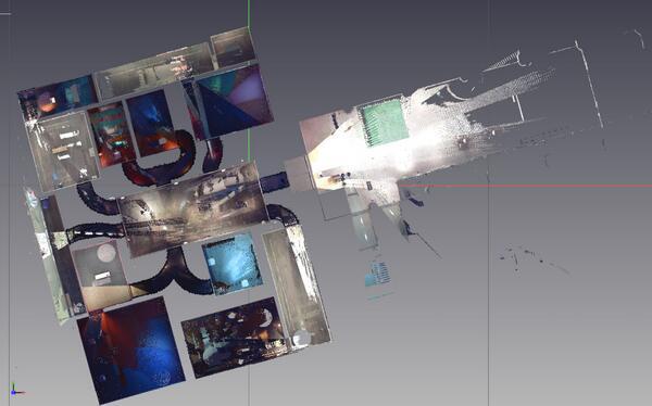 映画をめぐる美術 展のスキャン平面図。映像によって室内が虹色になっているのが面白い。あと、「闇」がモデリングされてて面白い。 http://t.co/neO4JEJLf8