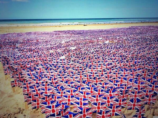 22,000 Union Jack flags were laid today on Gold beach in Normandy in memory of #DDay veterans. #DDay70 ht http://t.co/sWHJRoZuXz