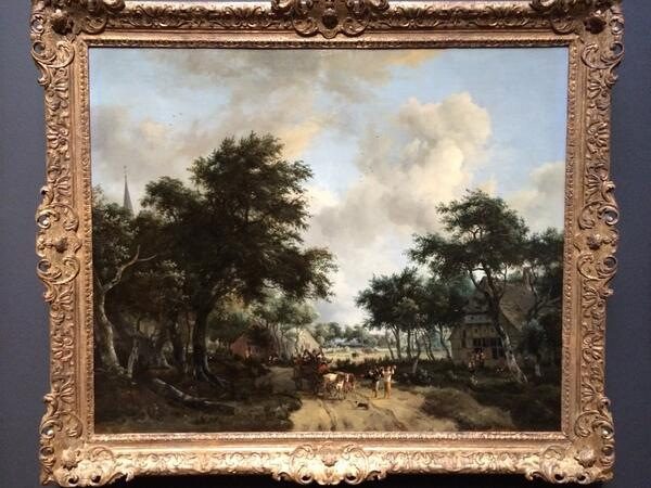 Meindert Hobbema, Forest landscape with merry group of people in a wagon