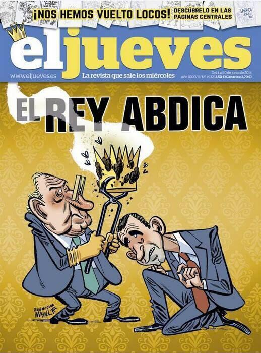 Cartoonist @ManelFontdevila resigns after alleged censorship of his @eljueves cover on the King of Spain's succession http://t.co/DD0DjC2OxB