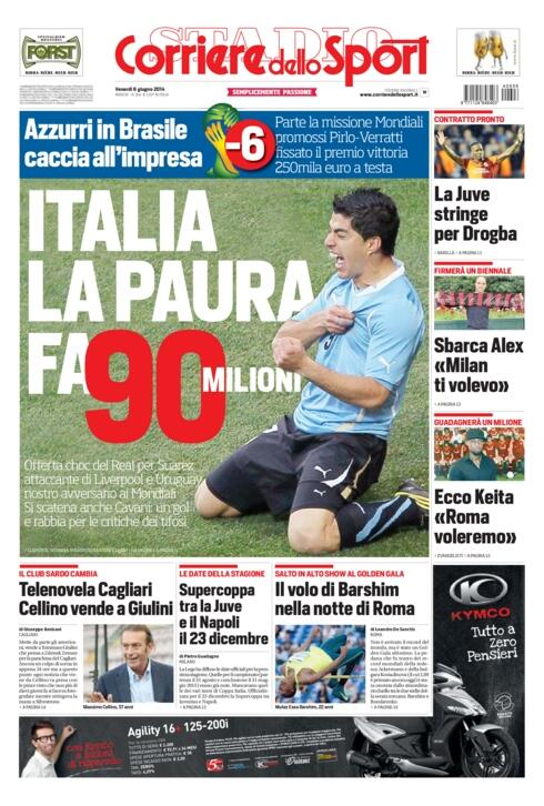 Real Madrid will offer Liverpool €90m for striker Luis Suarez [Corriere Dello Sport]