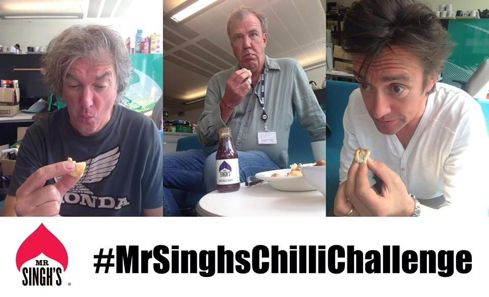 RT @mrsinghssauce: @JeremyClarkson @MrJamesMay & @RichardHammond kicking off #MrSinghsChilliChallenge - enter to WIN Father's Day Prize! ht…