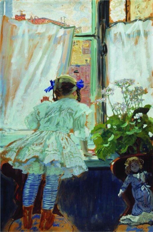 Борис Кустодиев «У окна. Портрет И.Б.Кустодиевой» ボリス・クストーディエフ『窓際で。イリーナ・クストーディエワの肖像』(1910)