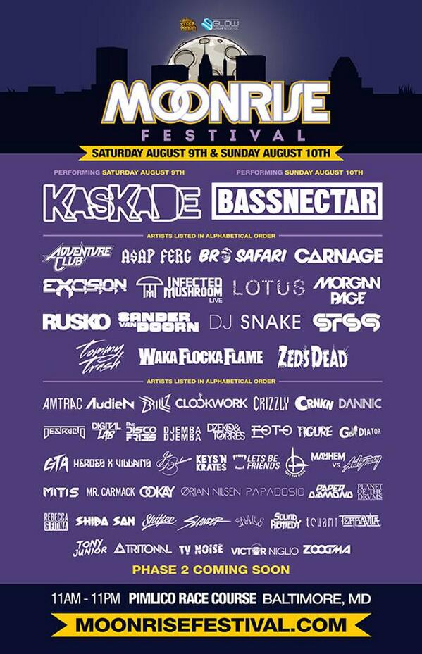 #MoonriseFestival Phase 1 @bassnectar @LotusTweets @STS9 @EOTOmusic @papadosio http://t.co/ChwkoGMB1n Aug 9-10 Bmore http://t.co/0B9fAvIVDo