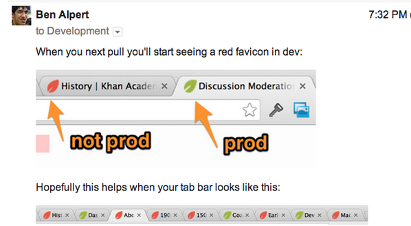 Awesome idea from @soprano: different colored favicons for prod versus dev servers. http://t.co/MFYGLhVCcX
