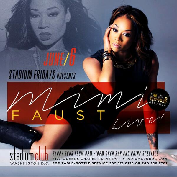 #StadiumFridays! The Number 1 Friday Night Party In America With Special Guest @MimiFaust! #StadiumClubdc! http://t.co/bgrhiqvrhw