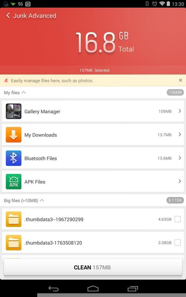 233 RT @multiple1902: 「猎豹清理助手」就是屌,从我的 8 GB 版 Nexus 7 上搜出了 16.8 GB 的垃圾文件。 http://t.co/r7qUvIeaXg