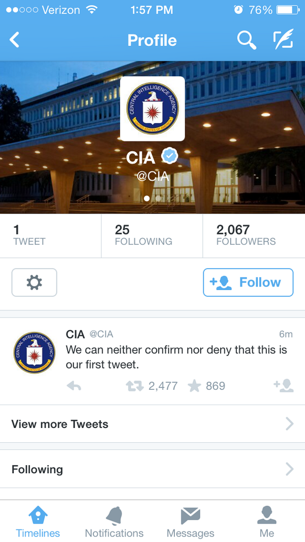 For the first time in history the CIA is only following 25 people. http://t.co/othuOAMG2C