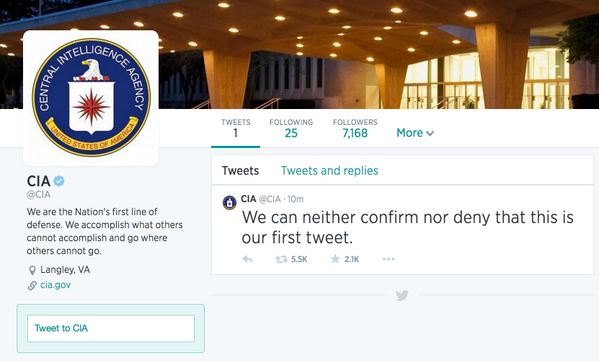 We can confirm that the @CIA is now on Twitter. http://t.co/zneDMJTrC5