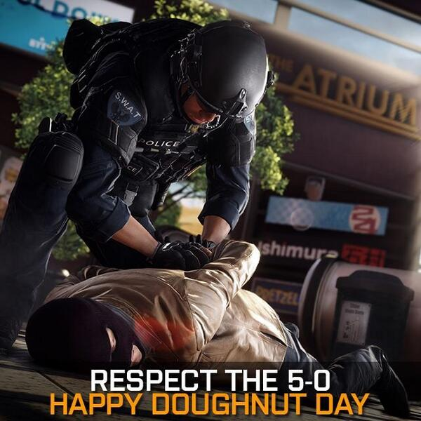 Appropriate to be back in LA on official doughnut day! Getting ready to reveal some Battlefield Hardline to you all. http://t.co/mZQPiWlTmJ