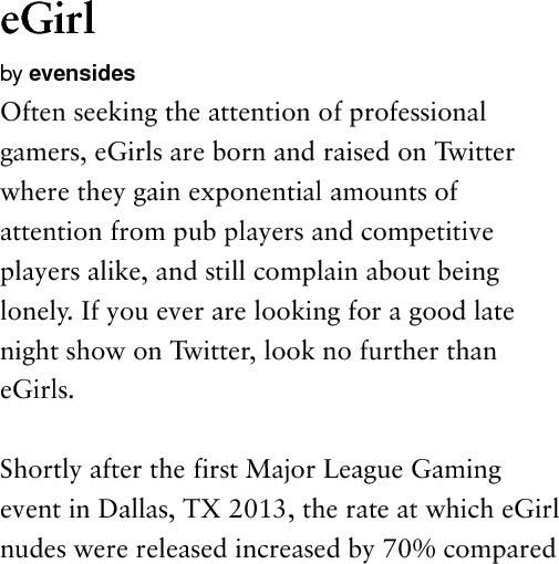Urban Dictionary On Twitter Tga Clout Egirl Often Seeking The Attention Of Professional Gamers Egirls Ar Http T Co Ixvgcr4pso Http T Co M5jlfljcud