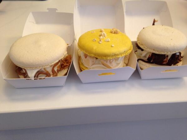 Macaron Ice Cream Sandwiches a go go - Salt Caramel / Lemon Meringue / Choc Brownie http://t.co/R0IBhNGYoQ