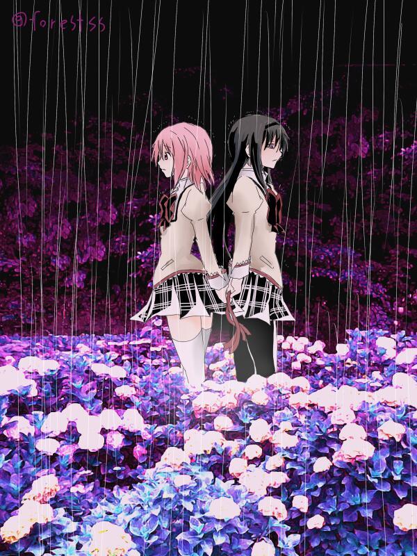 紫陽花を配置しておけば「梅雨」と「雨の日」の描き分けになるだろうという安易な発想。 #まどマギ版真剣深夜のお絵かき60分一本勝負