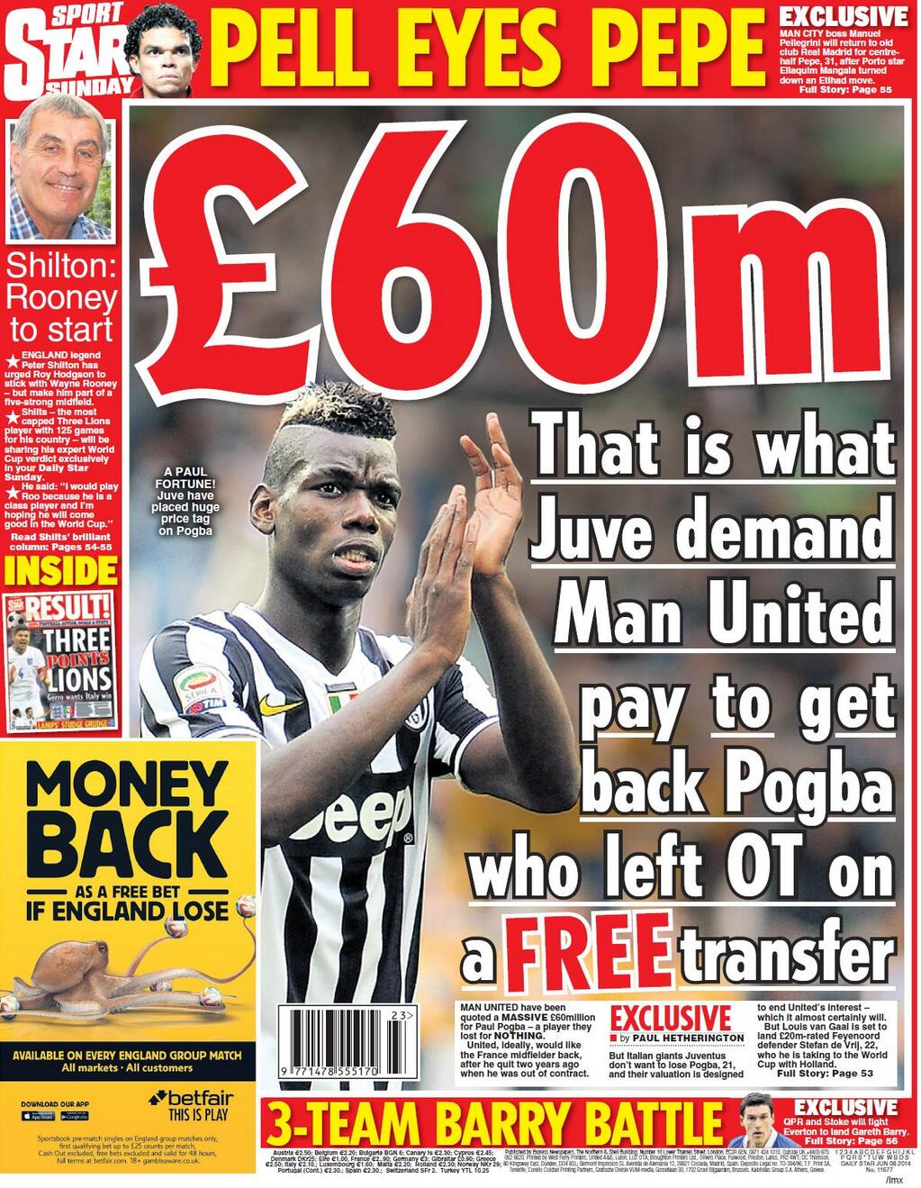 Man City target Real Madrids Pepe after Eliaquim Mangala rejects move [Star on Sunday]