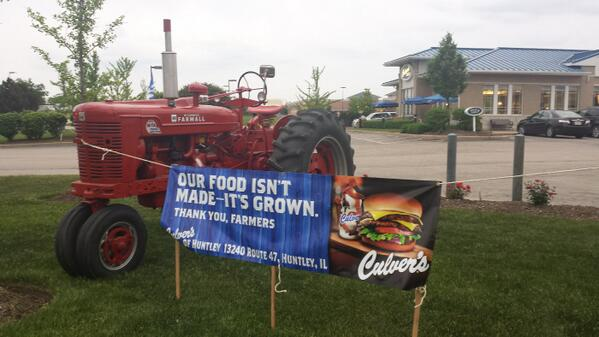 Our food isn't made- It's grown. Thank you farmers. @culvers YOU ROCK!!! http://t.co/jRR2UgrY5s