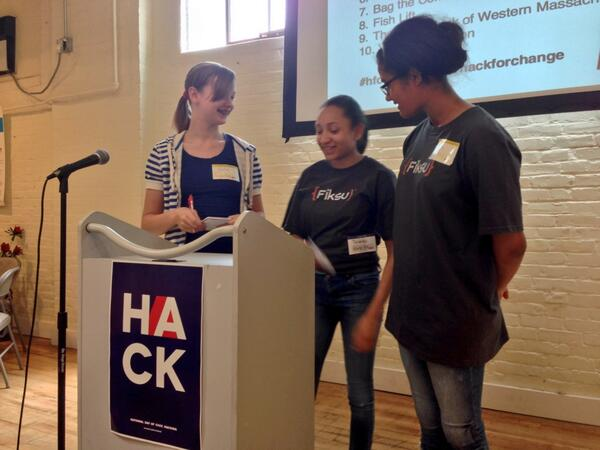 The @GirlsIncHolyoke team does a dry run of their @HackForWestMA presentation #HFCWesternMA #hackforchange http://t.co/3qNVioXisr