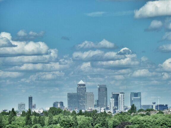 Canary Wharf from Blythe Hill this afternoon. Loving those clouds. #Catford #London http://t.co/SQ3hf0GOjE